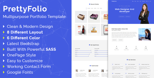 PrettyFolio – HTML5 Multipurpose Portfolio Template