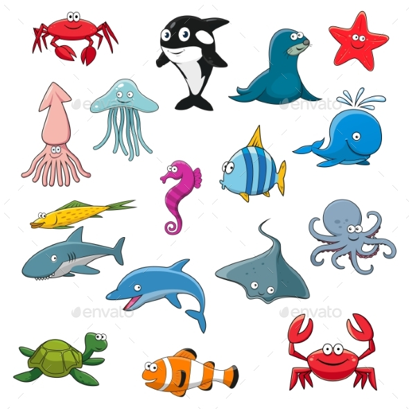 Ocean or Sea Cartoon Isolated Characters - Animals Characters