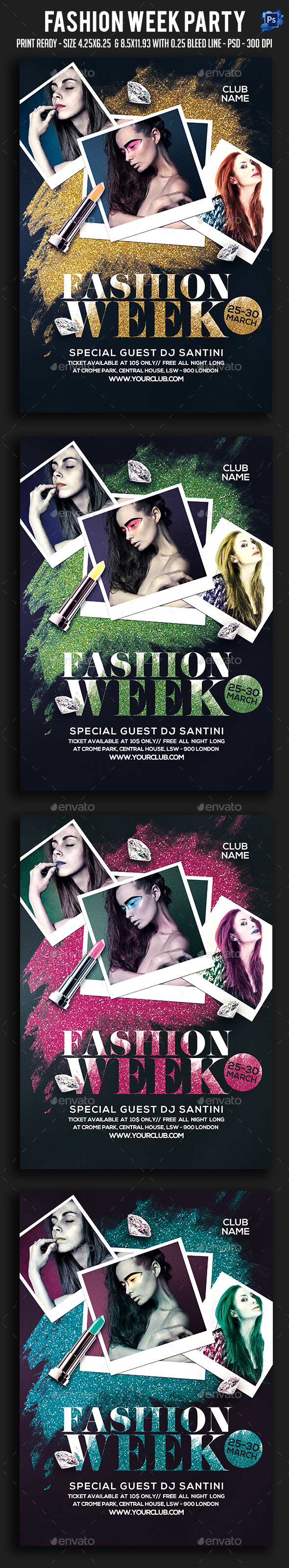 Fashion Week Party Flyer - Clubs & Parties Events