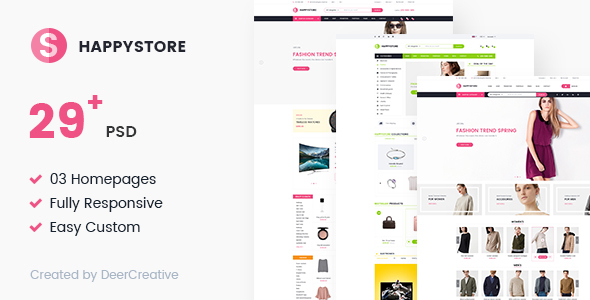 HappyStore | Multi-Purpose Responsive Ecommerce PSD Template - Retail PSD Templates