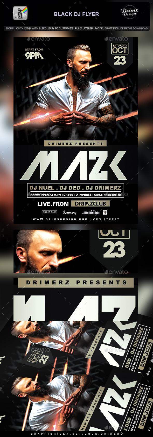 Black DJ Flyer - Events Flyers