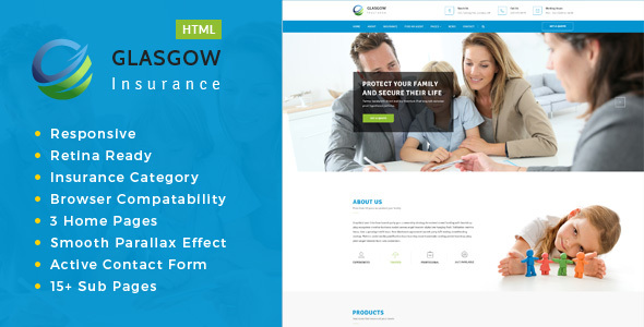 Glasgow– Insurance Agency HTML template - Business Corporate