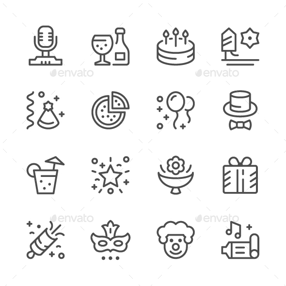 Set Line Icons of Party - Man-made objects Objects
