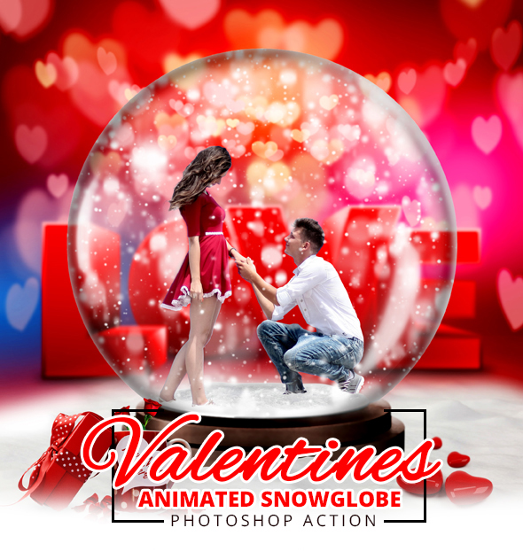 Gif Valentine Animated Snow Globe Action   Photo Effects Actions