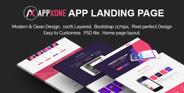 Appxone App Landing Page - Corporate PSD Templates