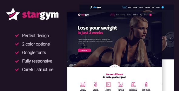 Stargym – Responsive Gym & Fitness HTML5 Parallax Template