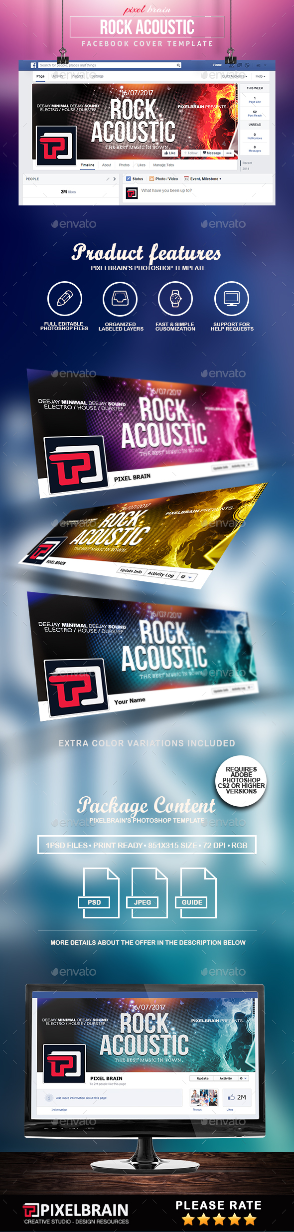 Rock Acoustic Facebook Cover Template - Facebook Timeline Covers Social Media