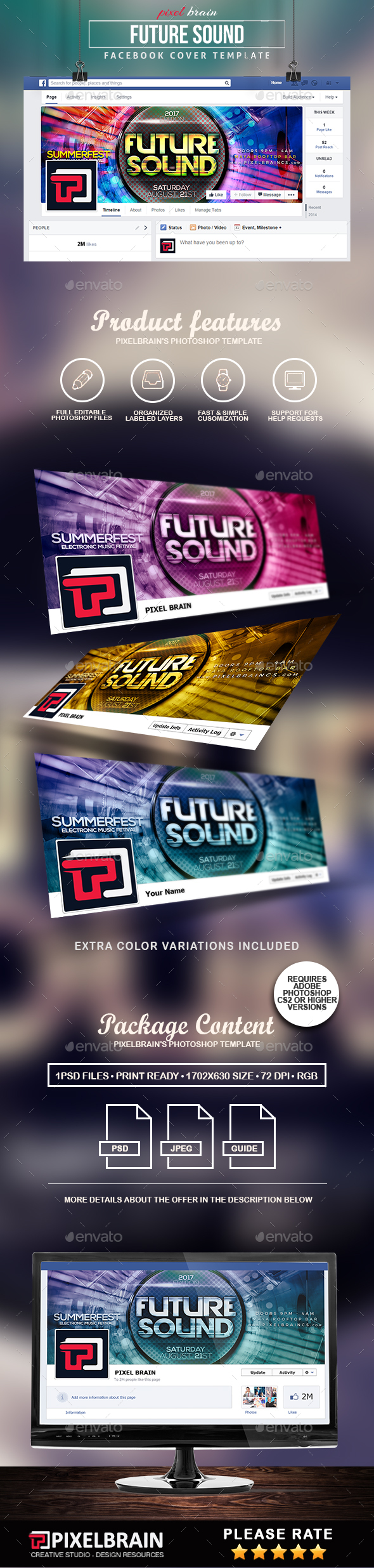 Future Sound Facebook Cover Template - Facebook Timeline Covers Social Media