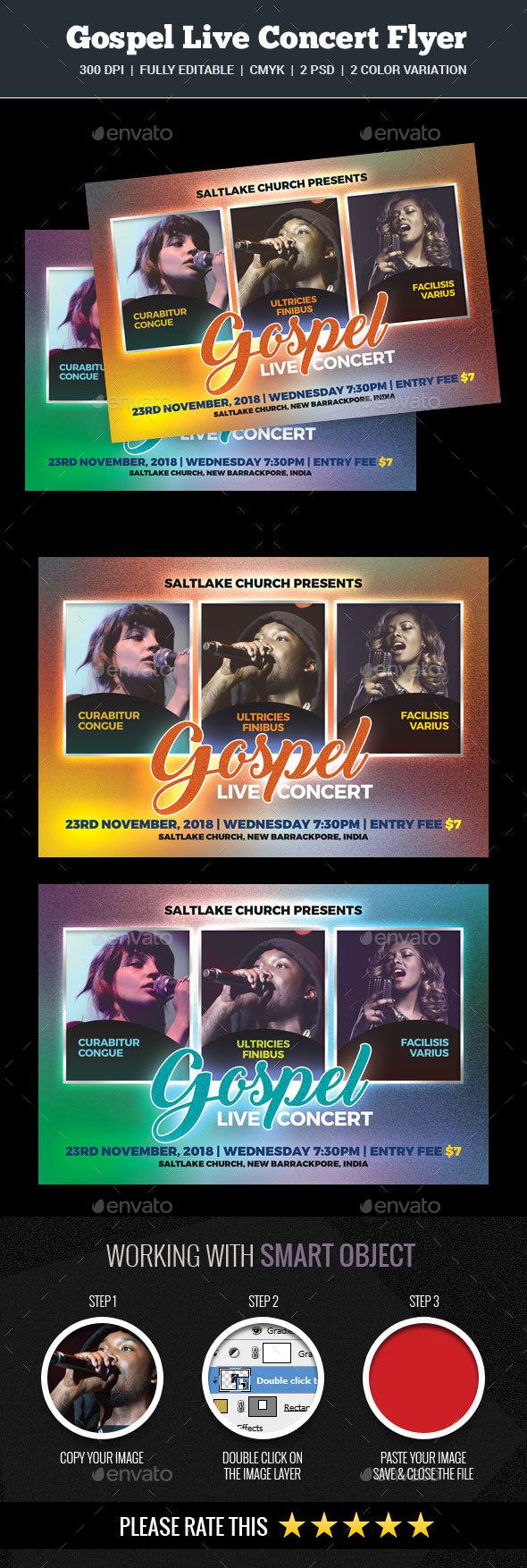 Gospel Live Concert Flyer - Church Flyers