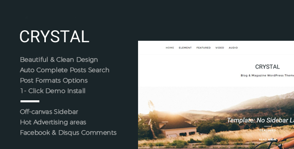 Crystal – Beautiful, Clean and Fast WordPress Blog Theme