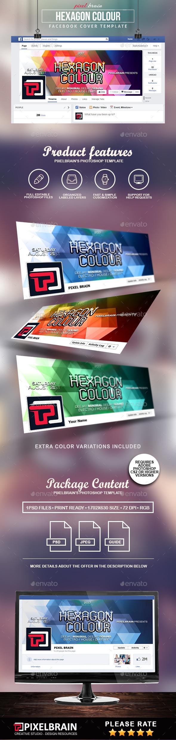 Hexagon Colour Facebook Cover Template - Facebook Timeline Covers Social Media