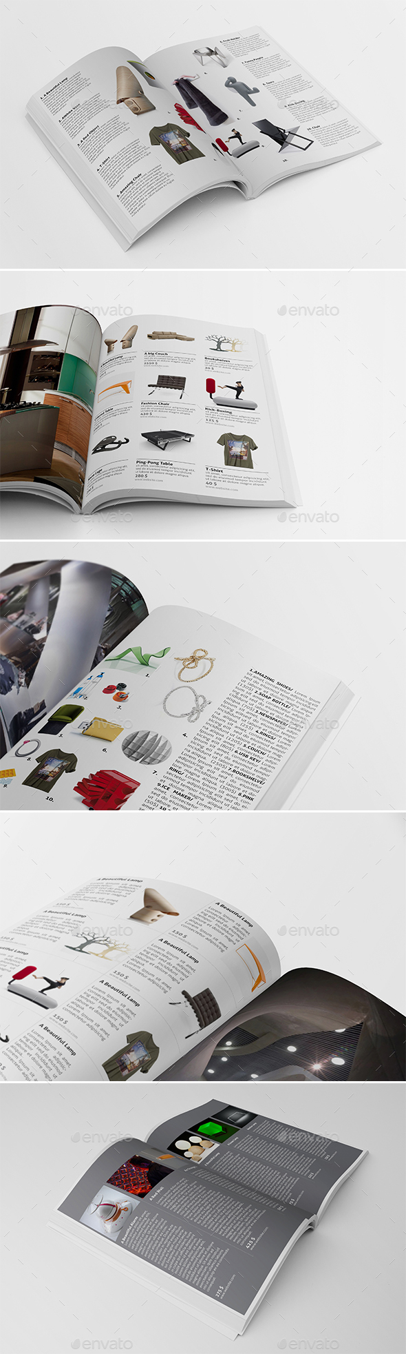 5 Different Products Showcase Layouts V.2 - Catalogs Brochures