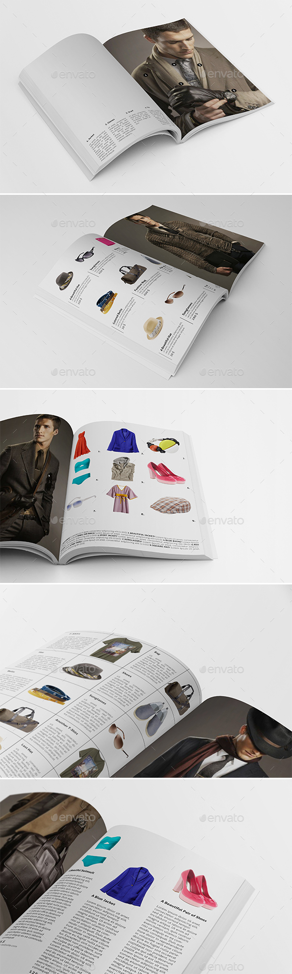 5 Different Products Showcase Layouts - Catalogs Brochures