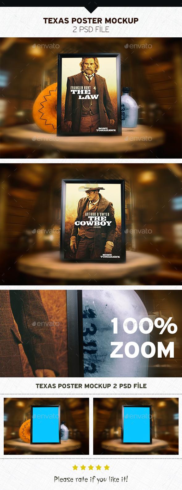 Texas Poster Mockup - Product Mock-Ups Graphics