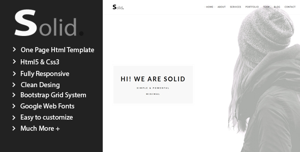 Solid – Minimal Multipurpose One Page Template