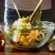 Woman Mixed Healthy Salad on Kitchen,   Video