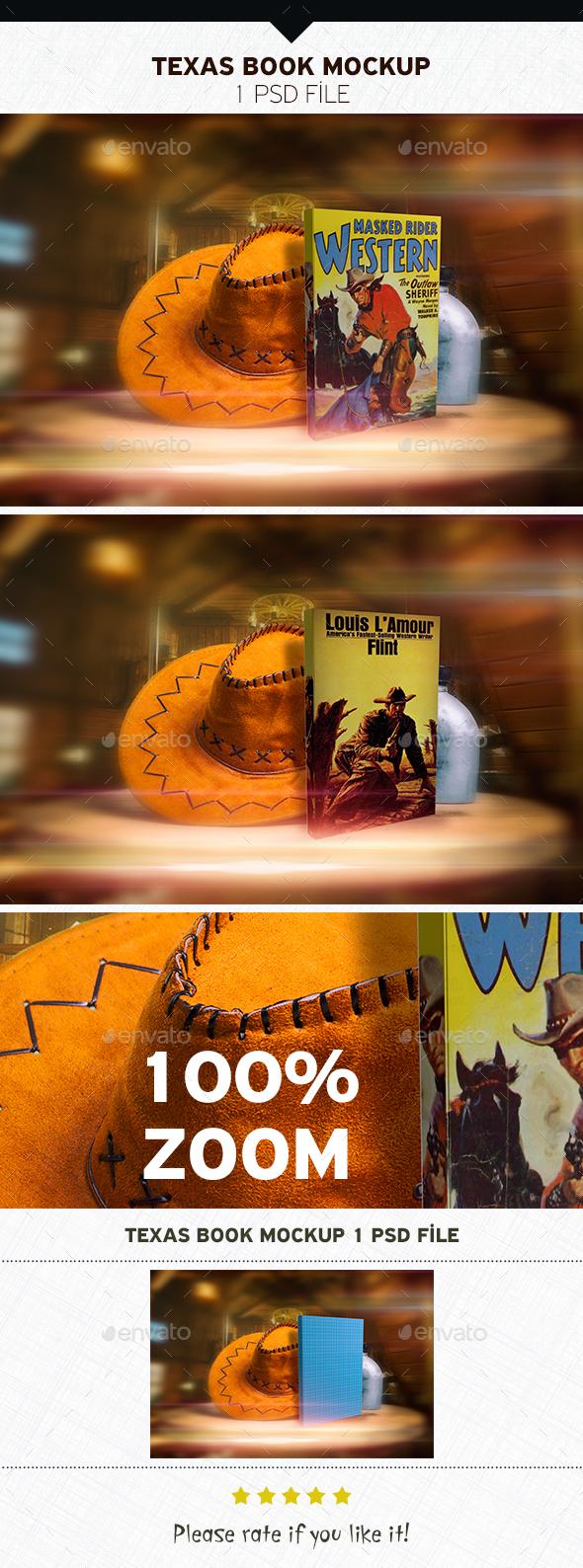 Texas Book Mockup - Product Mock-Ups Graphics