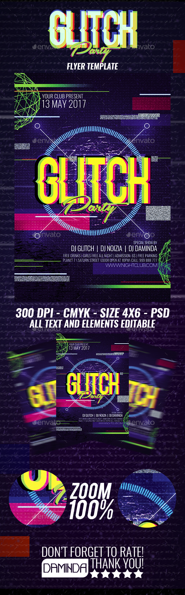 Glitch Party Flyer Template - Clubs & Parties Events