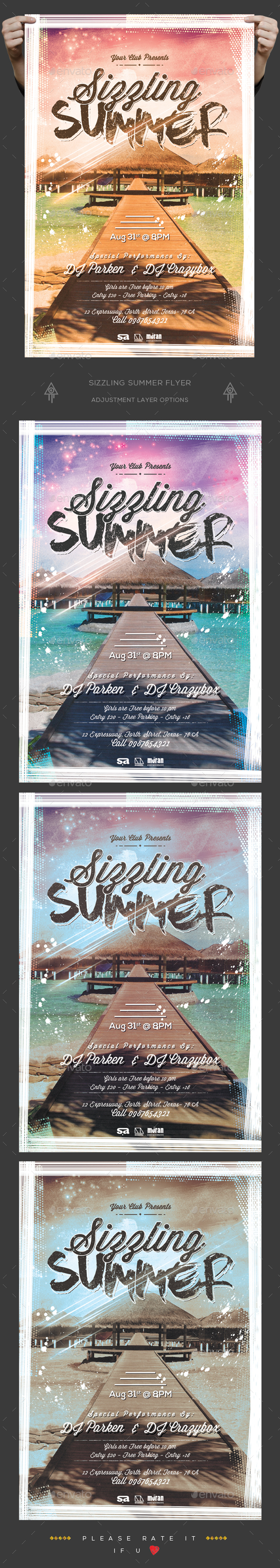 Sizzling Summer Flyer - Clubs & Parties Events