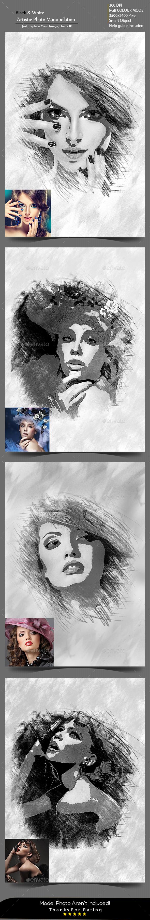 Black & White Artistic Photo Manuolation - Photo Templates Graphics