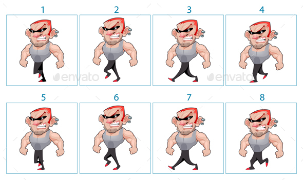 Walking Animation of a Cartoon Angry Character in 8 Frames in Loop - People Characters
