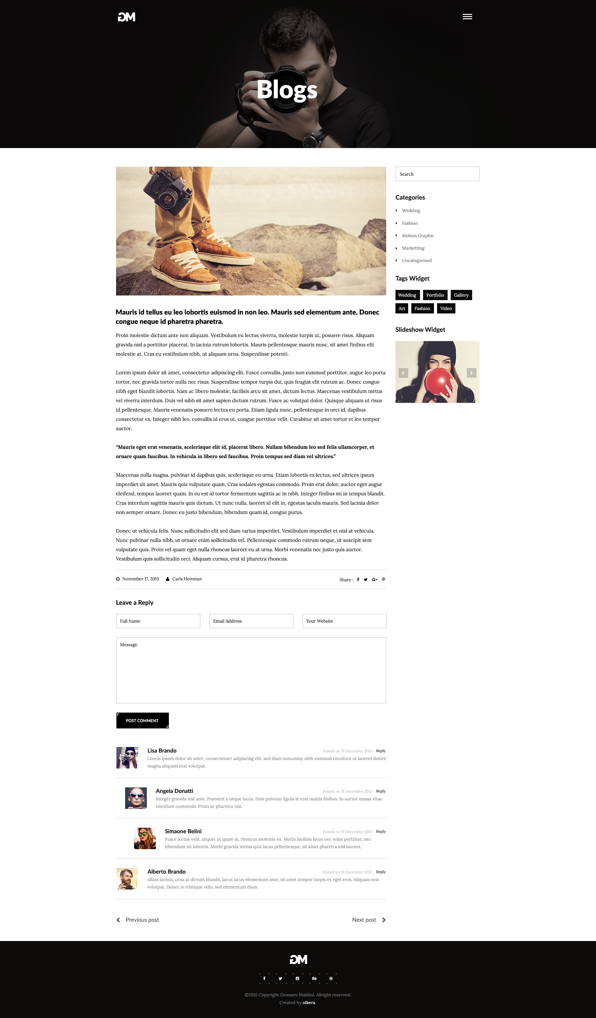 Gennaro Maldini graphy WordPress Theme