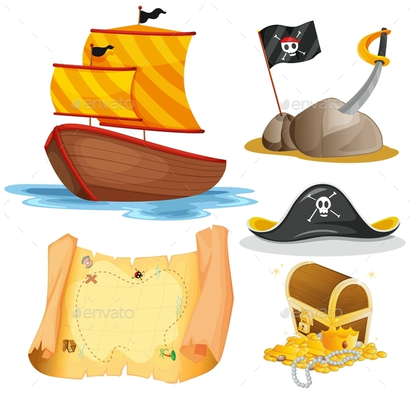 Sailboat and Other Pirate Elements - Man-made Objects Objects