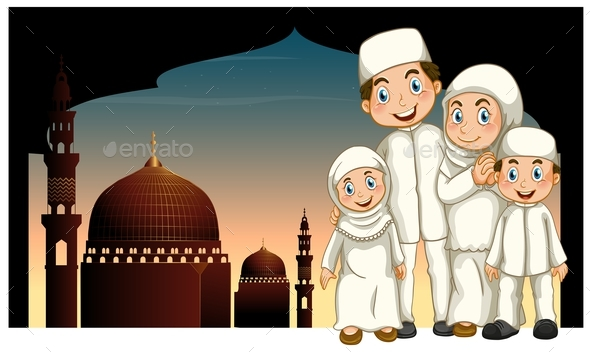 Muslim Family and Mosque - People Characters