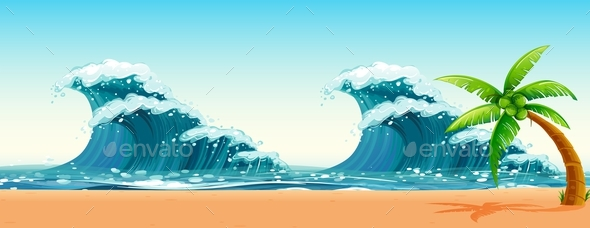 Scene with Big Waves in the Ocean - Landscapes Nature