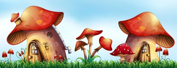 Mushroom Houses in the Garden - Organic Objects Objects