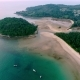 Aerial Footage. Flying Close Over Tropical Sandy Beach and Waves. Thailand. Phuket. Layan Beach. - VideoHive Item for Sale