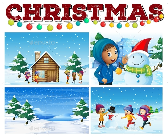 Christmas Theme with Children in Snow - Christmas Seasons/Holidays
