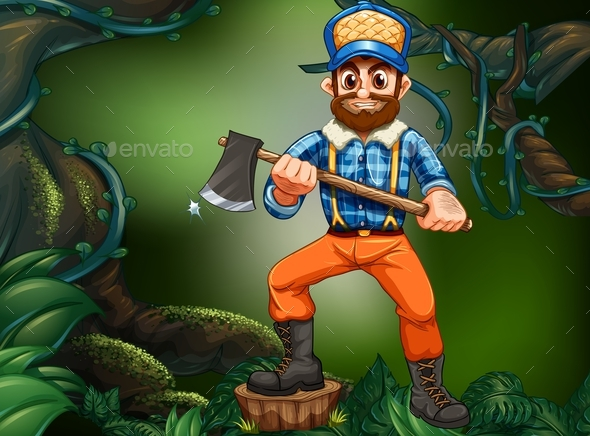 Lumber Jack Chopping Wood in the Forest - People Characters