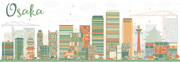 Abstract Osaka Skyline with Color Buildings - Buildings Objects