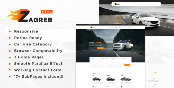 Zagreb - Limousine / Transport / Car Hire Template - Business Corporate