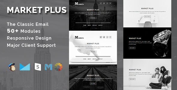 Image of MARKET PLUS - Multipurpose Responsive Email Template With Stamp Ready Builder Access