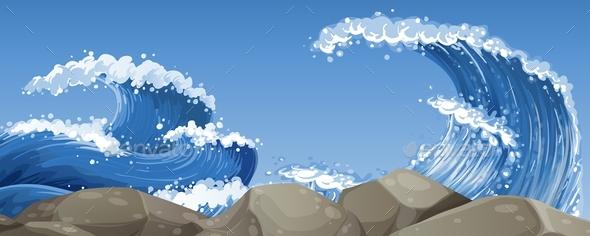 Big Waves Over the Rocks - Landscapes Nature