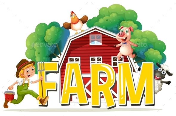 Font Design with Word Farm with Farmer and Animals - People Characters