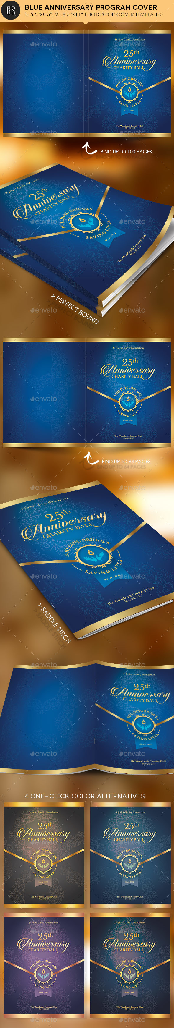 Blue Anniversary Gala Program Cover Template - Magazines Print Templates