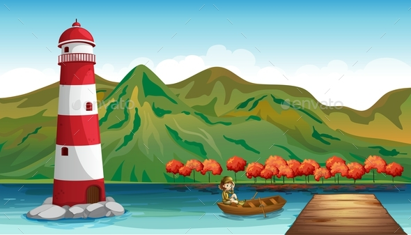 Scene with Lighthouse and Girl in Boat - Landscapes Nature