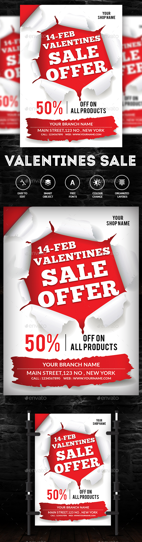 Valentine's Sale Flyer - Commerce Flyers