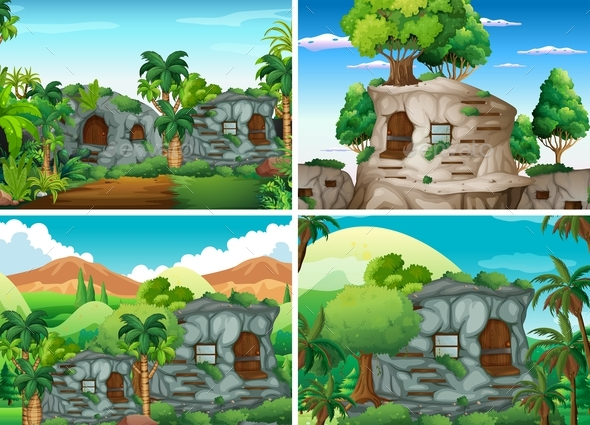 Scene With Stone Houses in Jungle - Landscapes Nature