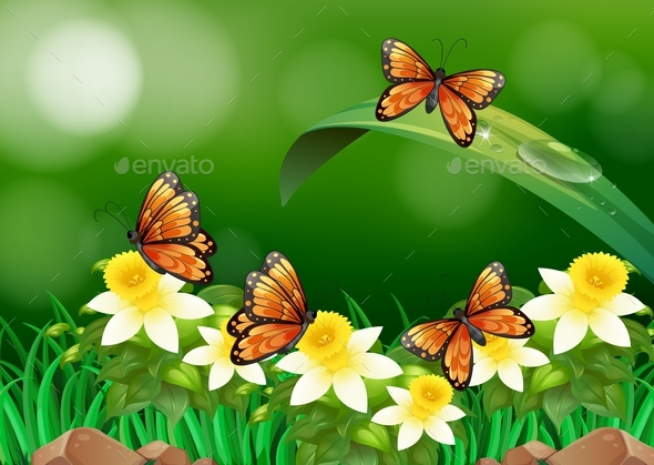 Butterflies Flying in the Garden - Animals Characters