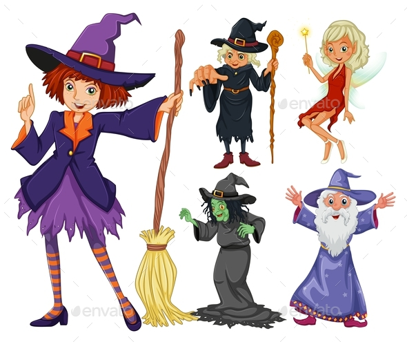 Fairytales Set with Witch and Wizard - People Characters