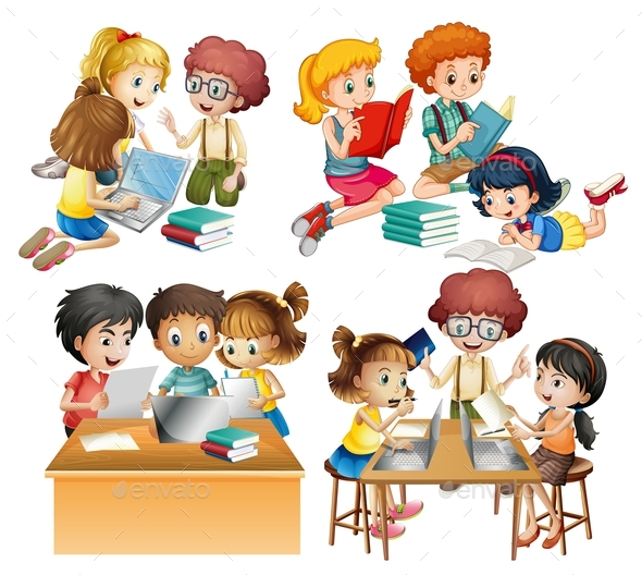 Groups of Students Reading and Working on Computer - People Characters