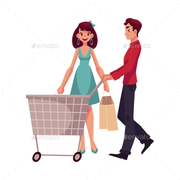 Man Pushing a Cart and Woman Holding Shopping Bags - Retail Commercial / Shopping
