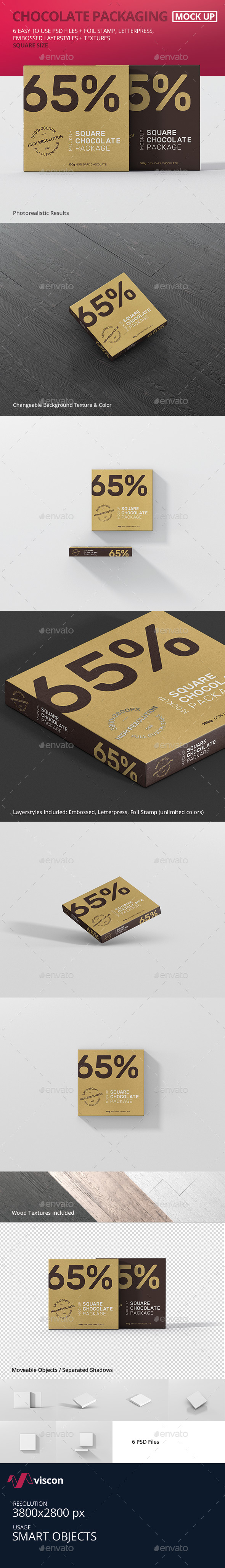Chocolate Packaging Mockup Square Size - Food and Drink Packaging
