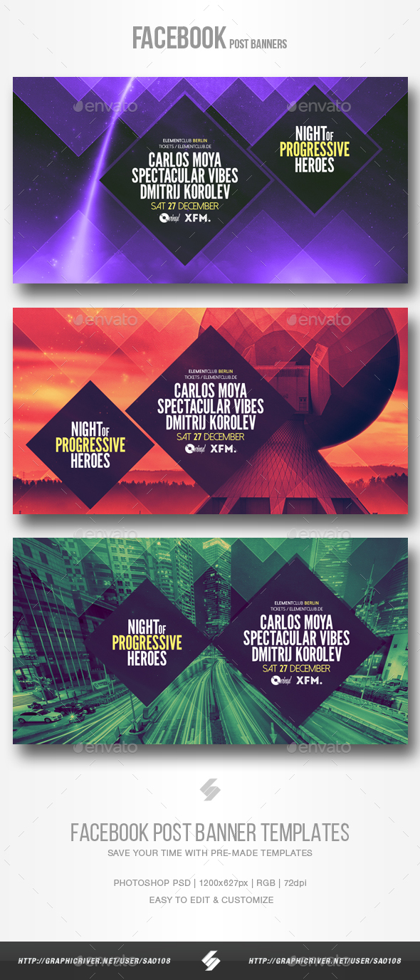 Electronic Music Party vol.14 - Facebook Post Banner Templates - Social Media Web Elements