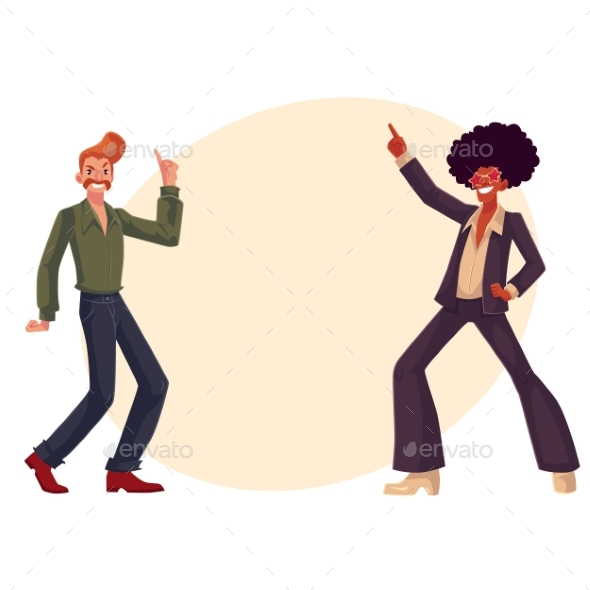 Black and White Men in 1970s Style Clothes Dancing - People Characters