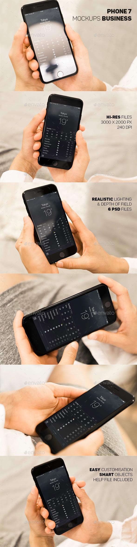 Phone 7 Hand Business Mockup - Mobile Displays
